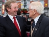 Taoiseach Enda Kenny is greeted by the President of Fleadh Cheoil na hEireann 2011, famous lilter Seamus Fay as he arrives in Cavan on Monday evening.  Photo: Lorraine Teevan