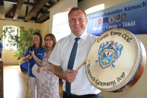Thomas Ebert - Mayor Kurnach with his specially commissioned Cavan Bodhrán